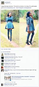 Fan interaction on Joy Kendi's Facebook page