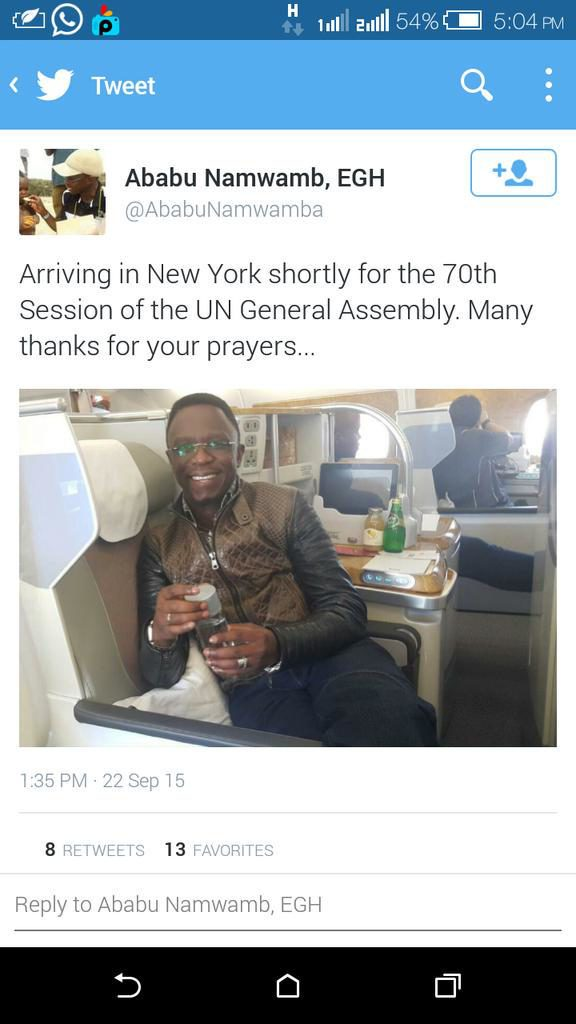 Ababu Flies First Class to NY