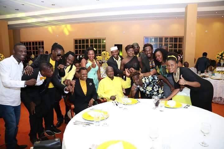 Tubonga Naawe artistes with president Museveni