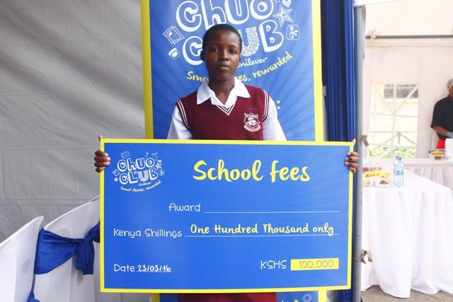 Brendy Atieno, St.Augustine Nyamonye Girls, Shs. 100,000 cheque winner