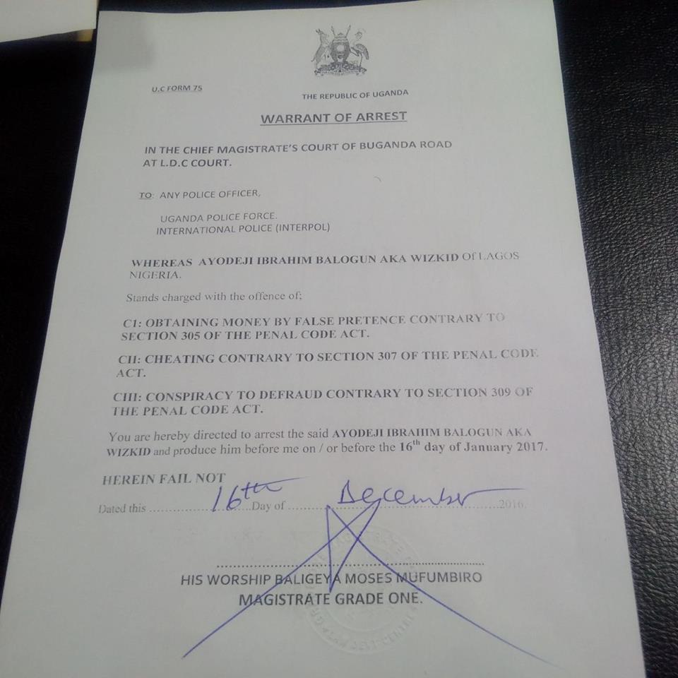 Wizkid's warrant of arrest.