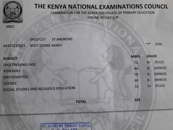 Serine Akinyi's KCPE Result slip