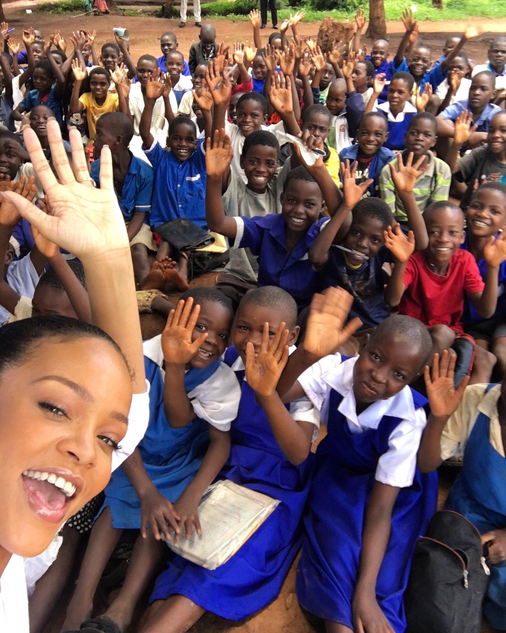 Rihanna with the kids